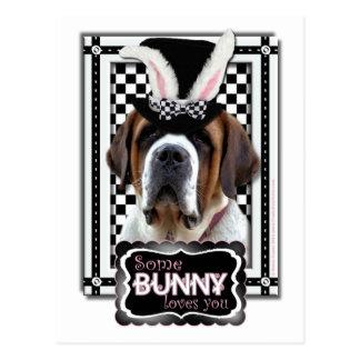 Ostern - etwas Häschen-Lieben Sie - Bernhardiner Postkarte