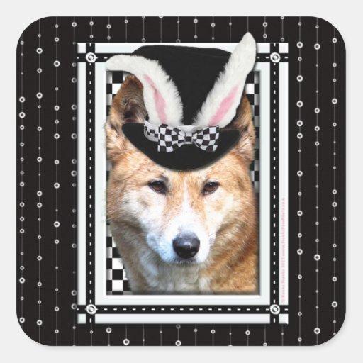 Ostern - etwas Häschen-Lieben Sie - Dingo Quadratischer Aufkleber