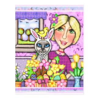 Ostern-Geschenk-Korb-Katze u. Dame Postcard Postkarte