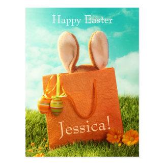Ostern-Geschenk mit Kaninchen und Ostereiern Postkarte