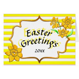 Ostern-Gruß-gelbe Streifen-gelbe Narzissen Karte