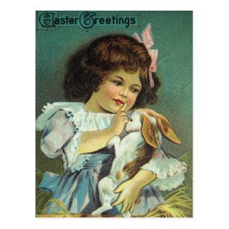 Ostern-Gruß-Mädchen-Baby-Häschen frech Postkarte