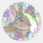 Ostern-Kaninchen-Frühlings-Garten Runder Aufkleber