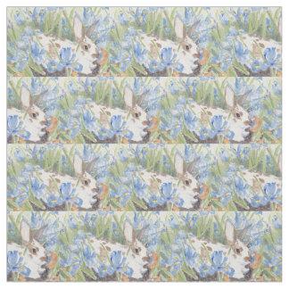 Ostern-Kaninchen-im Frühjahr niederländische Iris Stoff