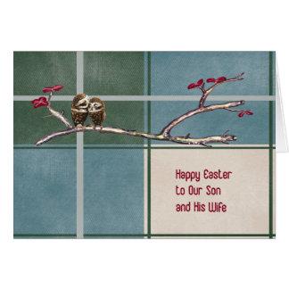 Ostern-Karte für Sohn-u. Ehefrau-blauen karierten Karte