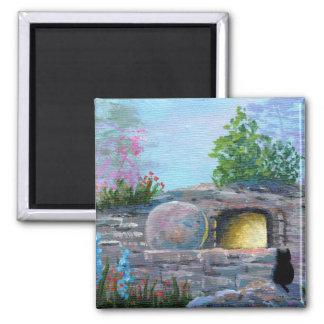 Ostern-Katzen-christliche Kunst-leeres Grab Quadratischer Magnet