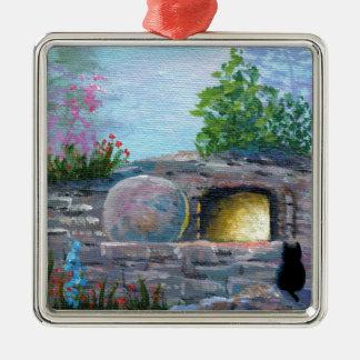Ostern-Katzen-christliche Kunst-leeres Grab Quadratisches Silberfarbenes Ornament