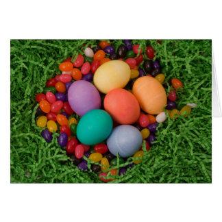 Ostern-Korb - die gefärbte Feder Eggs Geleebonbons Karte