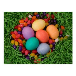 Ostern-Korb - die gefärbte Feder Eggs Geleebonbons Postkarte