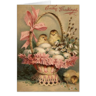 Ostern-Korb-Ei-Küken-Rosa-Bogen Grußkarte
