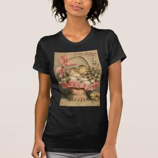Ostern-Korb-Ei-Küken-Rosa-Bogen T-Shirt