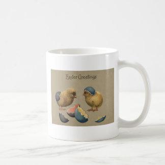 Ostern-Küken färbte gemaltes verziertes Ei Kaffeetasse