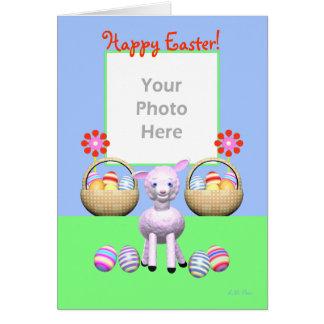 Ostern-Lamm und Eier (Fotorahmen) Karte