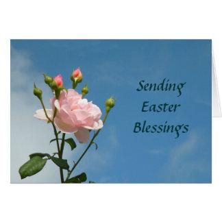 Ostern-Segen-Karte mit rosa Rose Karte