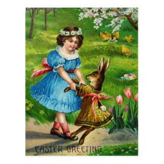 Ostern-Tanz-viktorianisches gekleidetes Häschen u. Postkarte