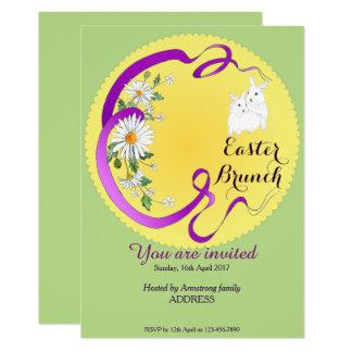 Osternbrunch-Häschen und Blumen-Einladung Karte