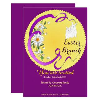 Osternbrunch-Häschen und Blumen-Einladung lila Karte