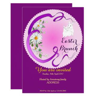 Osternbrunch-Häschen und Blumen-Einladung Lila-p Karte
