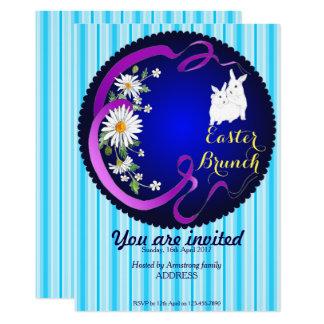 Osternbrunch-Häschen und Blumen-Einladungs-Blau Karte