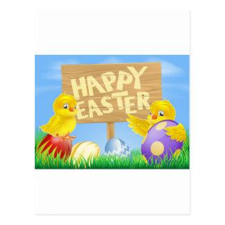 Osternvögel und -eier mit Zeichen Postkarte
