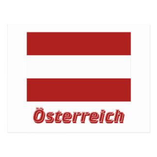 Österreich bürgerliche Flagge MIT deutschem Namen Postkarte