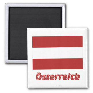 Österreich bürgerliche Flagge MIT deutschem Namen Quadratischer Magnet