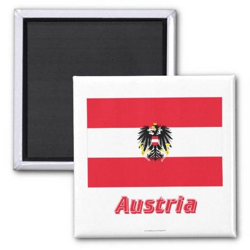 Österreich-Flagge mit Namen Kühlschrankmagnete