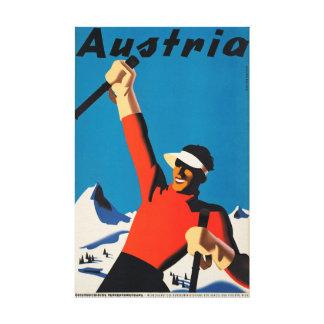 Österreich, Gebirgsskier-Reise-Vintage Leinwand