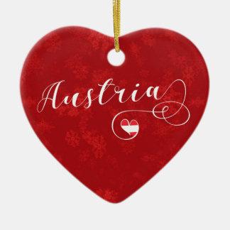 Österreich-Herz, Weihnachtsbaum-Verzierung, Keramik Ornament