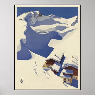 Österreich-Skihäuschen in den Alpen Poster