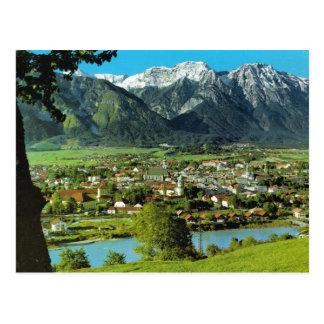 Österreich, Tirol, Solbad Hall, Fluss-Gasthaus Postkarte