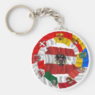 Österreich u. seine Länder, die Flaggen Standard Runder Schlüsselanhänger