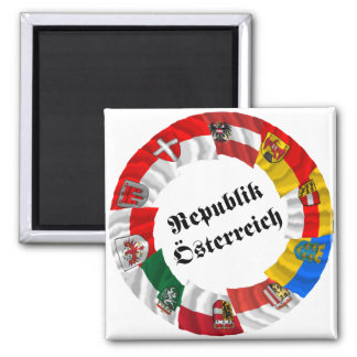 Österreich u. seine Länder, die Flaggen wellenarti Quadratischer Magnet