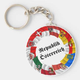 Österreich u. seine Länder, die Flaggen wellenarti Standard Runder Schlüsselanhänger