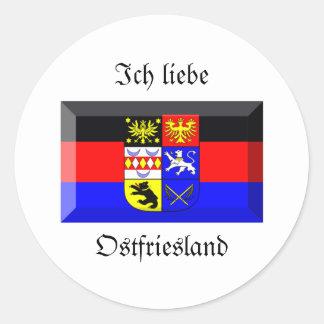 Ostfriesland Flaggen-Edelstein Runder Aufkleber