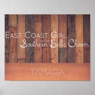 Ostküsten-Mädchen mit südlichem Schönheits-Charme Poster