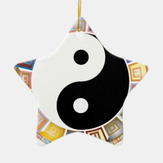 östliche asiatische Philosophie yin Yang Keramik Stern-Ornament
