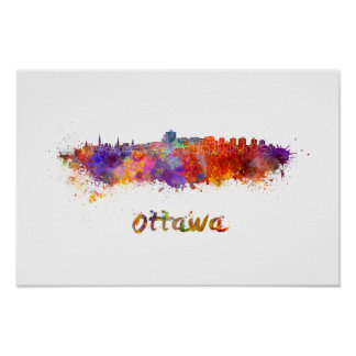 Ottawa skyline im Watercolor Poster