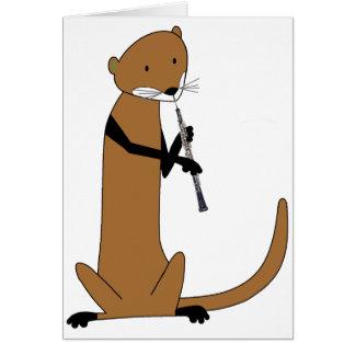 Otter, der das Oboe spielt Grußkarte