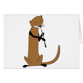 Otter, der das Oboe spielt Karte