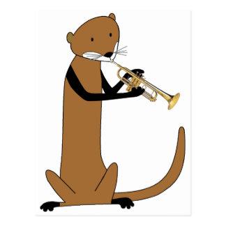 Otter, der die Trompete spielt Postkarte