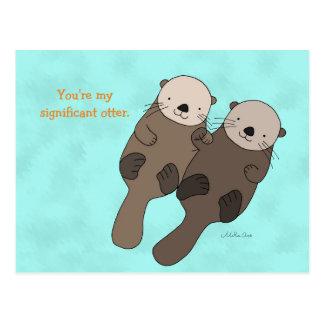 Otter, der Handpostkarten-niedliche Otter-Paare Postkarte