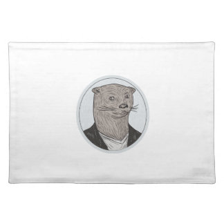 Otter-Hauptblazer-Shirt-ovales Zeichnen Tischset