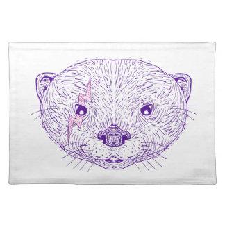 Otter-Hauptblitz-Bolzen-Zeichnen Stofftischset