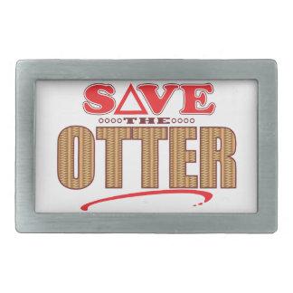 Otter retten rechteckige gürtelschnalle