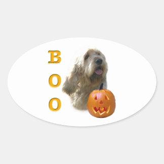 Otterhound-HalloweenBOO Ovaler Aufkleber