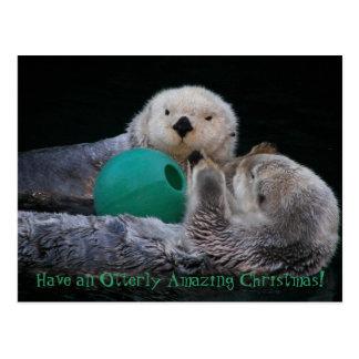 Otterly fantastisches Seeotter-Weihnachten Postkarte