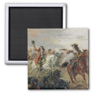 Oudenaarde - eine Kavallerie plänkeln (Öl auf Quadratischer Magnet