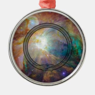 Ouroboros Rundes Silberfarbenes Ornament