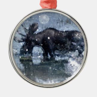 Outdoorsmanwinterwildnistier-Stierelche Silbernes Ornament